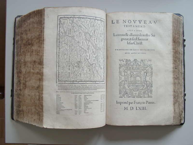 Französische Bibel von 1563 gedruckt von Francois Perrin