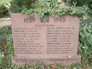 Gedenkstein für die während des 2. Weltkrieges Verstorbenen