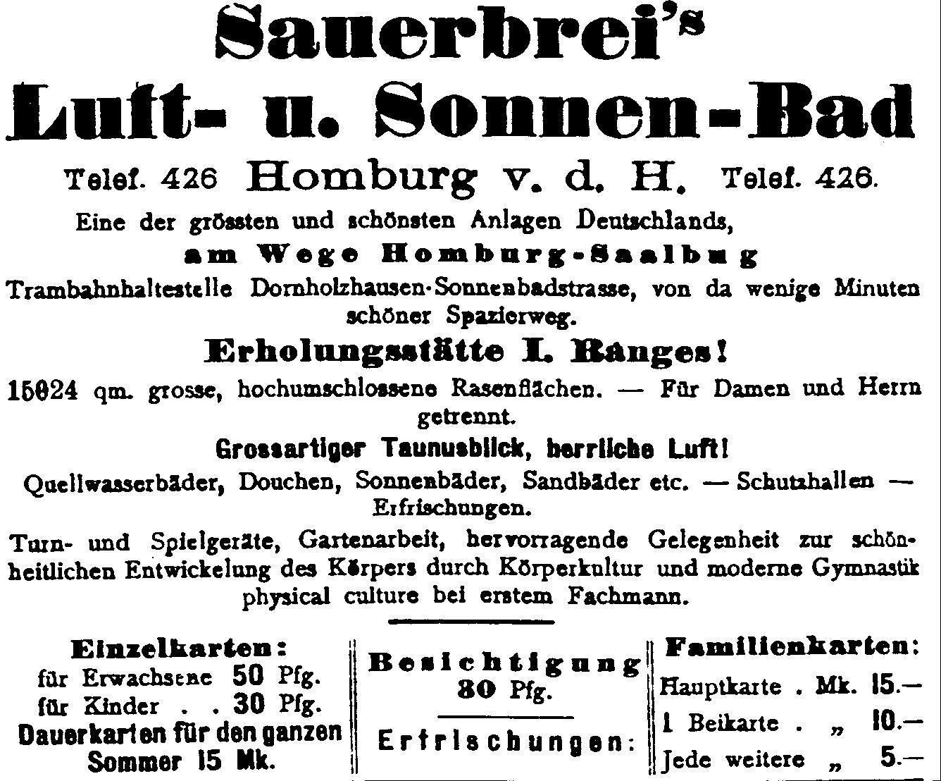 "Plakat ""Sauerbrei's Sonnenbad"""