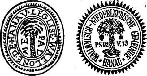 Links: Wallonische Gemeinde, rechts: das Gemeinschaftssiegel
